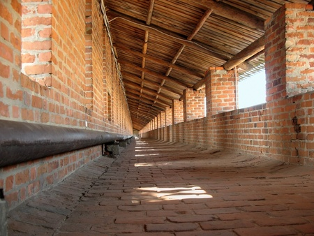 striping: Covered gallery on the wall of the fortress of Nizhny Novgorod Kremlin