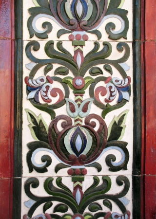 majolica: Majolica tiles on the facade of the house, St. Petersburg Editorial