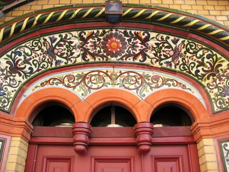 majolica: Majolica tiles on the facade of the house, St. Petersburg Stock Photo