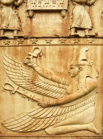 ankh cross: Goddess Maat  Fragment of Egyptian gate in Pushkin  Tsarskoye Selo