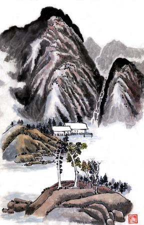 Mountain landscape. Figure Guohua
