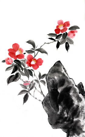 Camellia. Figure style Guohua Stock Photo
