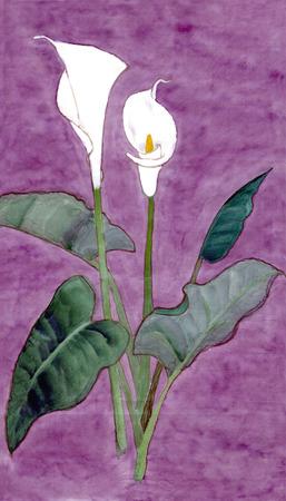 funnel shaped: Callas. Figure style Guohua Stock Photo