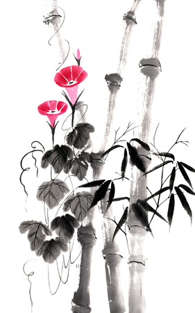 convolvulus: Bindweed (Convolvulus) and bamboo (Bambusa). Figure in the Chinese style Stock Photo