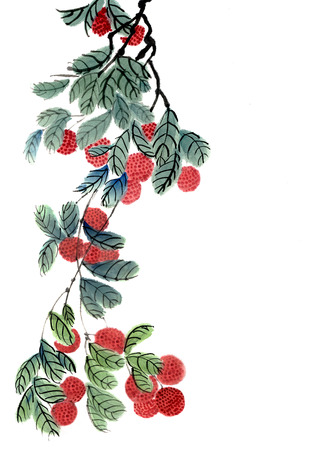 Branch of Chinese lychee (Litchi chinensis) with fruits. Figure in the Chinese style Stock Photo