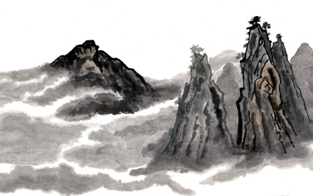 Fog in the mountains. Figure style Guohua
