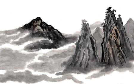 Mist in de bergen. Figuur stijl Guohua Stockfoto