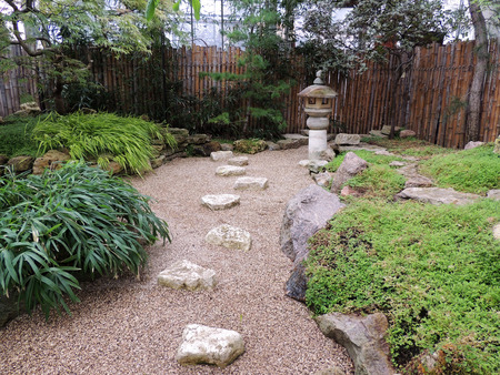 gravel: Rocky garden with stone lantern in Japanese style