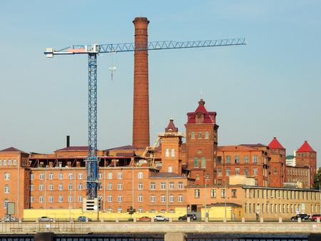 st  petersburg: Old red brick factory building, St. Petersburg