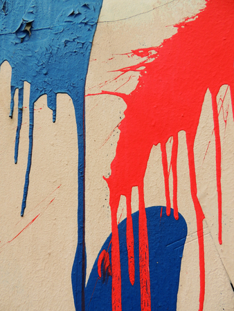 the deposits: Deposits of paint on the wall of building