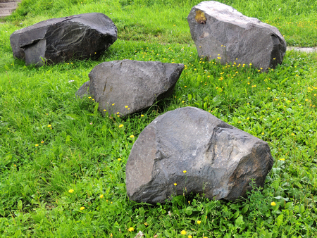 Boulders of shungite on lawn