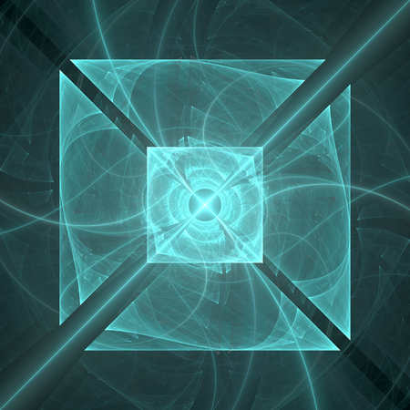 turquiose: Abstract fractal geometric square background Stock Photo