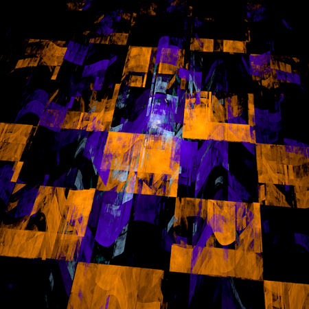 Abstract fractal background. Perspective geometric tiles