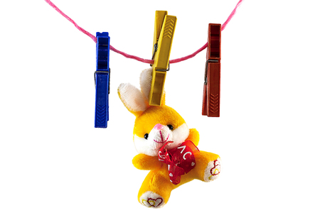 On a white background, rope, clothespin, clothespin, one holding a toy rabbit
