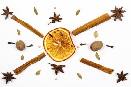 Dried lemon cinnamon star anise on a light background. Imagens