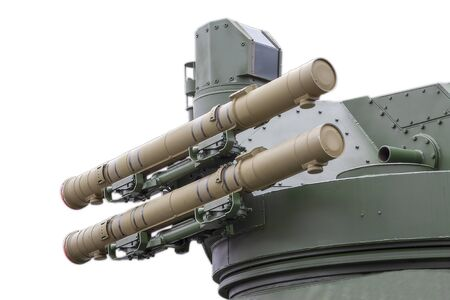 Anti-aircraft missile launcher on military equipment to deal with enemy aircraft Banque d'images