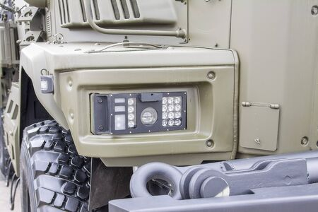 LED headlights of a modern military vehicle Archivio Fotografico