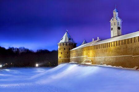 Veliky Novgorod, Russia, 29.12.2018 Novgorod Kremlin in the evening in the winter