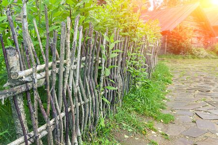 Wicker fence in the village of tree branches