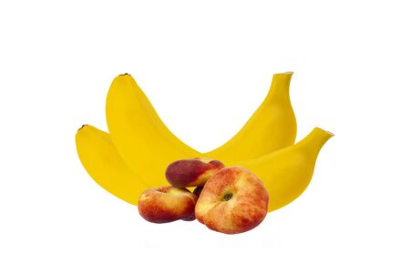 Bananas with peach close-up on a white background 写真素材