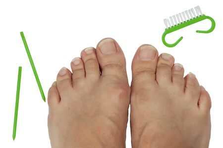 Long toenails. Tool for pedicure. On white background.
