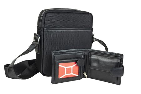Bag with purse on a white background.