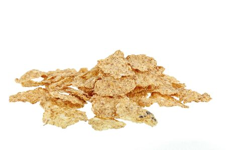 High-calorie breakfast cereal on a white background close-up, isolate.