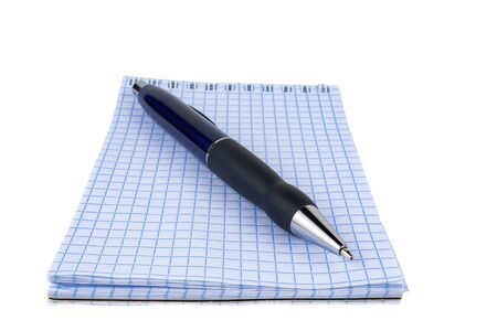 Automatic pen, notebook, on a white background close-up