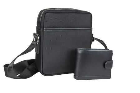Mens small bag with a wallet on a white background, close-up