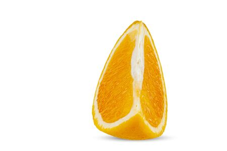 A quarter of ripe orange close-up on a white background. Isolate