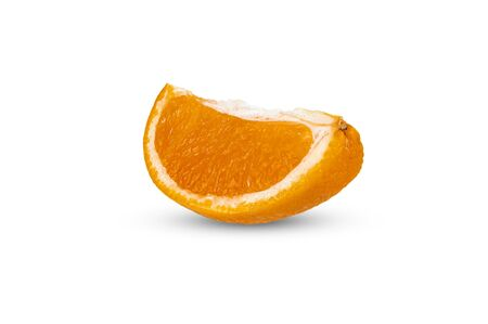 A quarter of ripe orange close-up on a white background. Isolate 写真素材