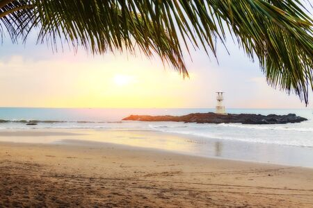 Sunset on the beach with palm trees overlooking the lighthouse 写真素材