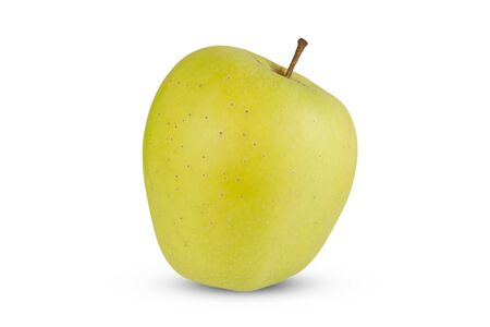 Green, natural apple on a white background