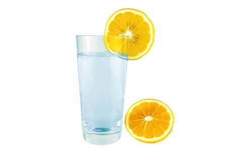 Lemon with a glass of water on a white background