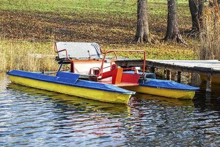 Catamaran on the water at the wharf