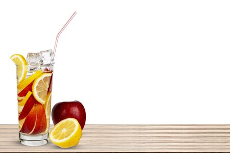 Glass of fruit on a white background.
