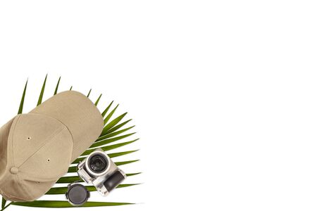 Rest, tourism, vacation. A baseball cap with a camera and a fern branch lie on a white background. Isolate