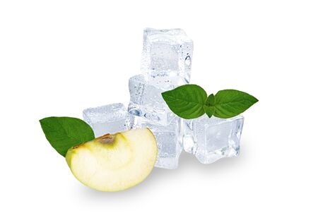 Apple slice with ice cubes on a white background