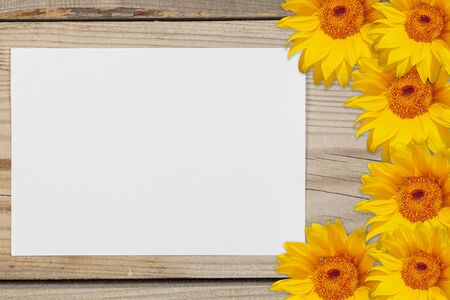 A sheet of white paper surrounded by sunflowers on a wooden background