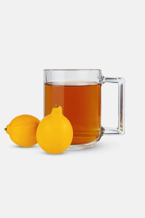 Glass of tea and lemons on a white background