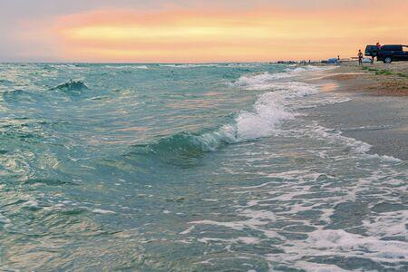 Wave on sunset. Nature composition. Element of design Reklamní fotografie