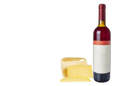 Pieces of cheese with a bottle of wine on a white background