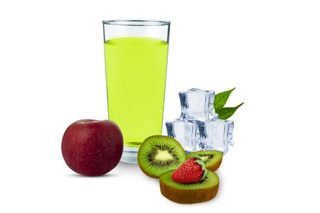 Apple, kiwi, strawberries, ice cubes, a glass of juice on a white background