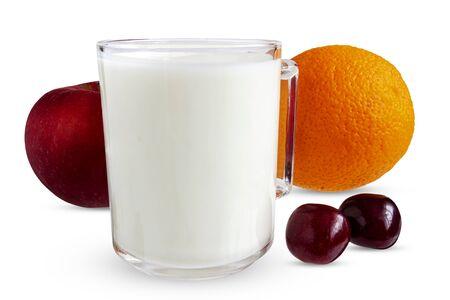 Mug with kefir, apple, orange, cherry on a white background
