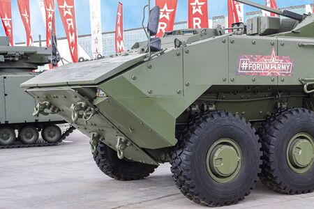 Moscow Russia 30.06.2019 Close-up modern infantry fighting vehicle.