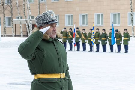 Russia Moscow 20.01.2019 An officer of the Russian army gives a command to his subordinates.