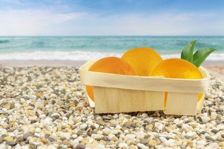 Oranges in packaged by the sea. Foto de archivo
