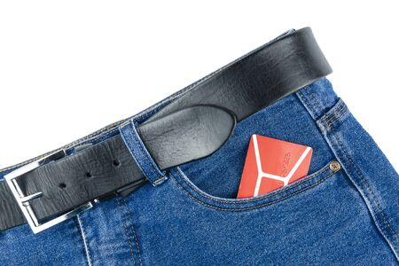 Theres a discount card in his pants pocket Foto de archivo
