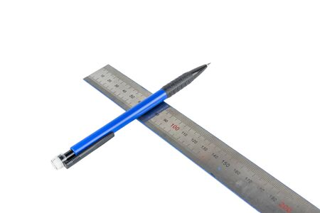 Automatic pencil and metal line on a white background