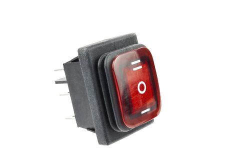 three position electronic switch with red backlight. Foto de archivo
